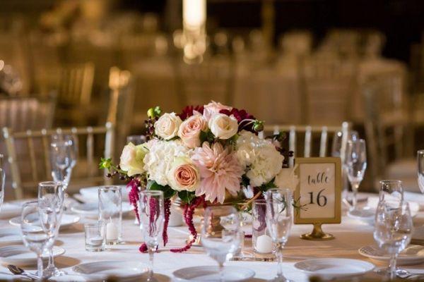 Modern Telugu Gujarati Hindu Wedding Wedding Reception Centerpieces Pink Hydrangea Centerpieces White Hydrangea Centerpieces