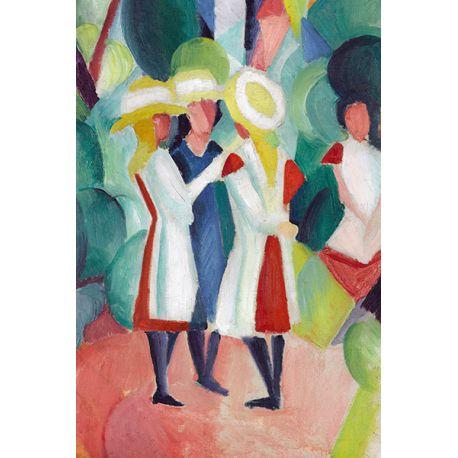 Three girls in yellow straw hats I - August Macke - reprodukcje na płótnie - Fedkolor