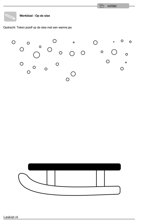 Teken jezelf op de slee! Let op: Bruikbaar voor observaties 'Kijk', tekenontwikkeling (zijaanzicht).