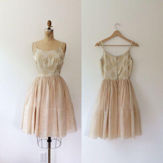 1950s dress / metallic brocade dress / Rose by nocarnations