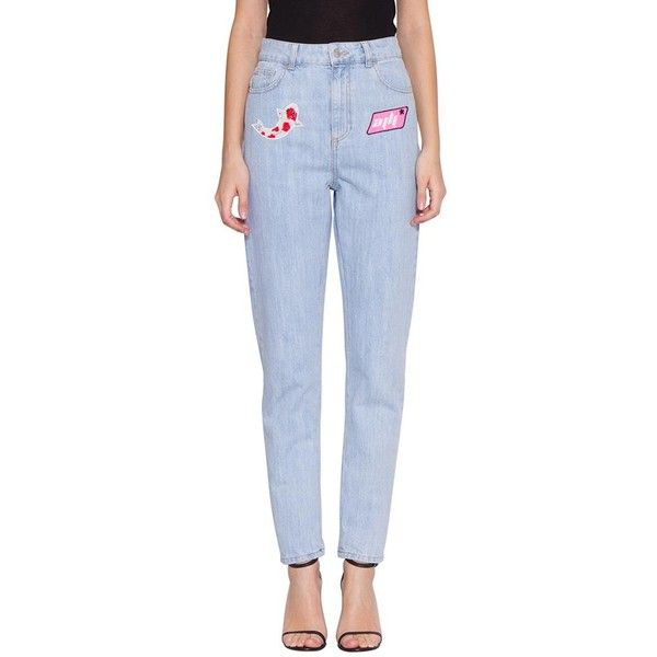 Au jour le jour Cotton denim jeans (€445) ❤ liked on Polyvore featuring jeans, light blue, high waisted blue jeans, light blue high waisted jeans, blue jeans, embroidery jeans and high-waisted jeans