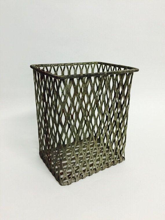 Industrial Metal Basket Mesh Basket Expanded by VintageGoofball