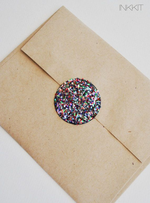 colorful glitter large circle stickers  (30 stickers) $6.00 | InkKit via Etsy.