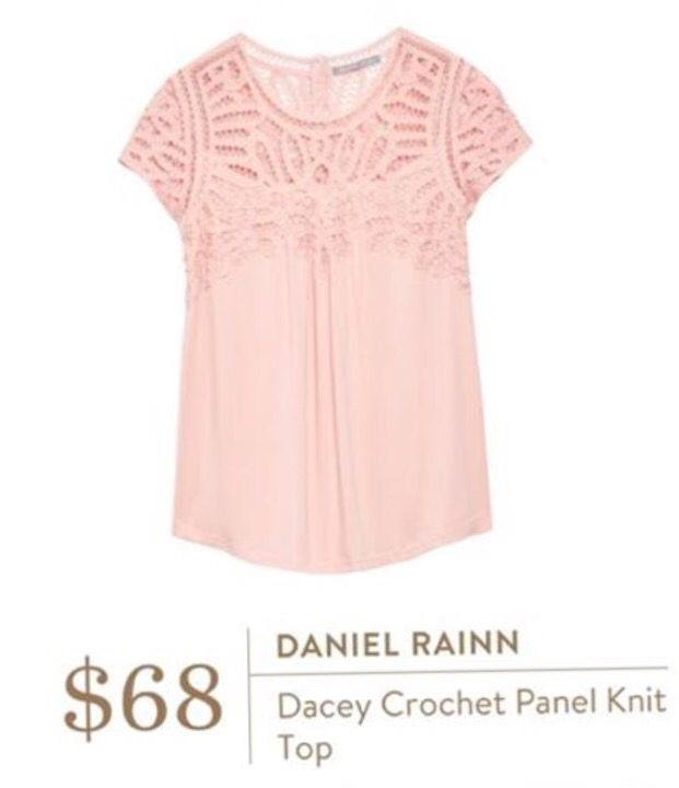 Stitch fix stylist: I love the light pink color. Feminine with the detail. Daniel Rainn dacey crochet panel knit top.