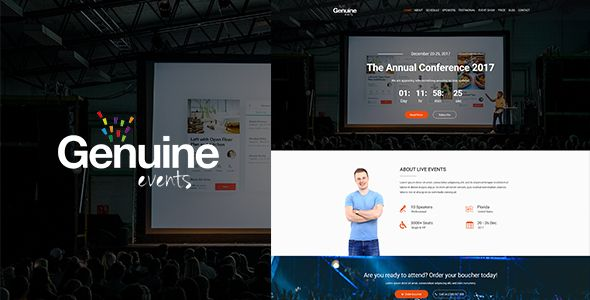 Geinuine is a PSD template for conference, meeting and event websites. It is a highly suitable template for companies that plan meetings as well as event management websites. It has purpose oriented design, responsive layout and special features like appointment forms, services, event planner, schedules, pricing plans and other pages.