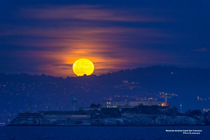 Moonrise Alcatraz Islands San Francisco  I have been taken many moonrise / moonset photos this year that I pick this one as my favorite shot in 2013. The colors and mood are best as I think of it.  Photo Credit: David Yu Photography https://www.flickr.com/photos/davidyuweb/