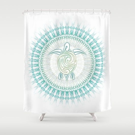 Turquoise Green Turtle And Mandala Shower Curtain Beach Style