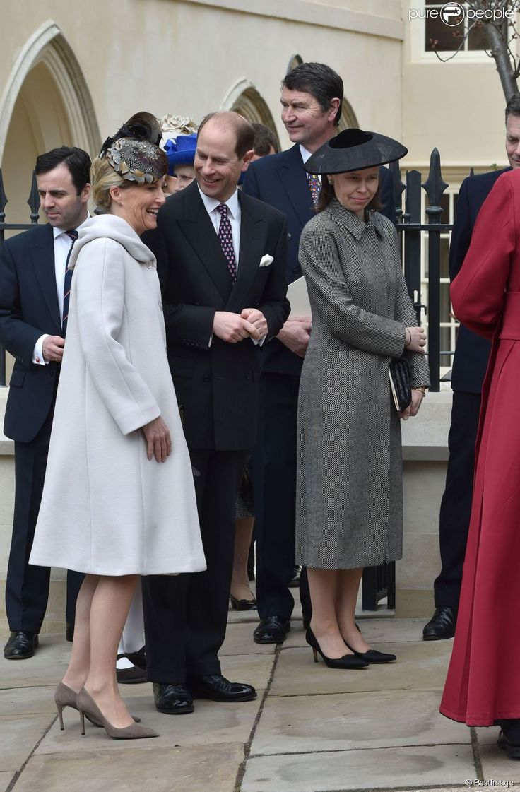 Sophie, Countess of Wessex, Prince Edward, Tim Laurence (Princess Anne's husband), and Lady Sarah Chatto (Princess Margaret's daughter) at St. George's Chapel at Windsor, April 5, 2015.