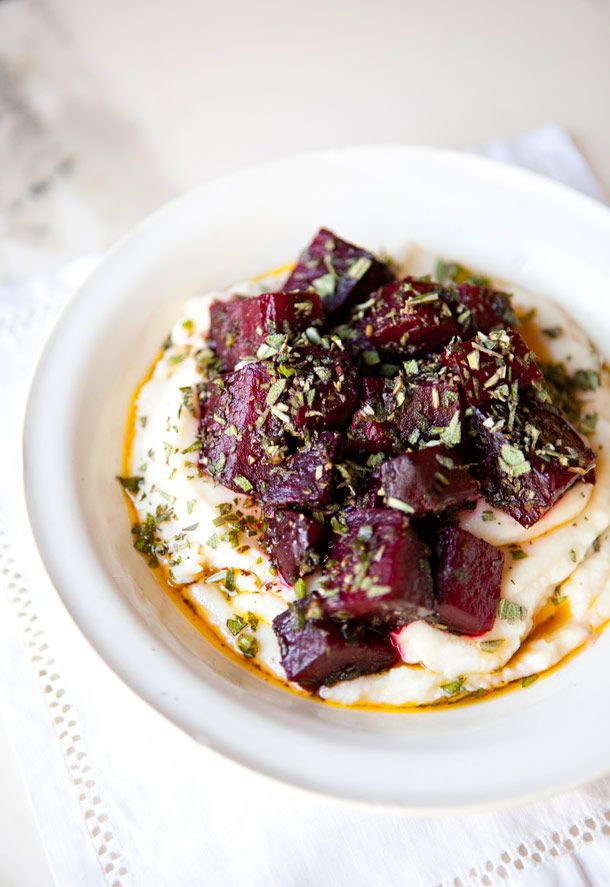 celery root puree with roasted herbed beets