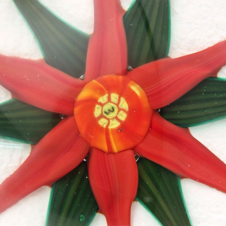 Whittemore Poinsettia Flower White Snow Ground Glass Paperweight - Christmas GL