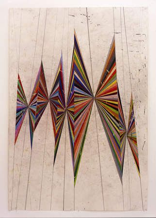 Untitled (colored butterfly white background 10 wings) (2004) by American artist Mark Grotjahn (b.1968). Colored pencil on paper. via Hammer Gallery, UCLA