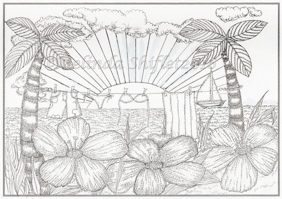 Tropical Oasis Clothesline Coloring Page