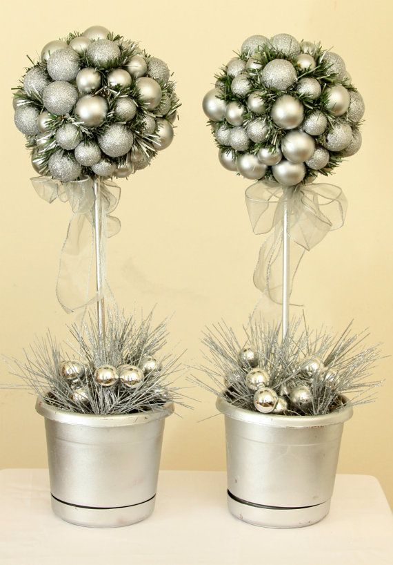 Silver Topiary Trees, Topiary Centerpiece,  Silver Christmas Topiaries on Etsy, $60.00