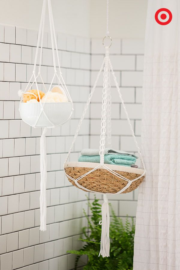 56 best images about the bathroom on pinterest towels wire baskets and bath for Hanging baskets for bathroom storage