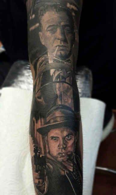 Tattoo Mafia Portraits Arm  - http://tattootodesign.com/tattoo-mafia-portraits-arm/  |  #Tattoo, #Tattooed, #Tattoos