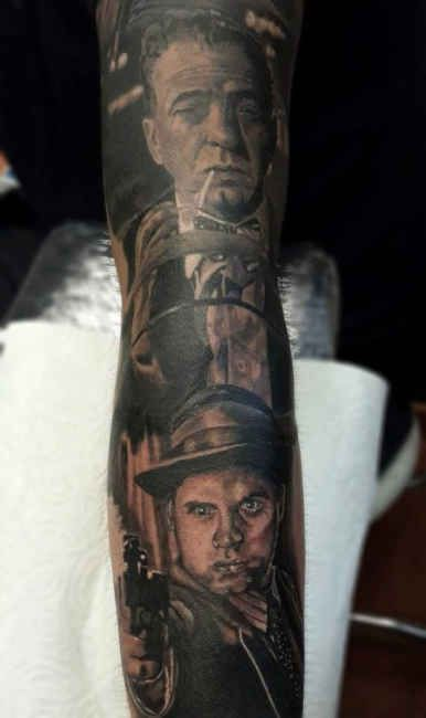 Tattoo Mafia Portraits Arm  - http://tattootodesign.com/tattoo-mafia-portraits-arm/  |  #Tattoo, #Tattooed, #Tattoos