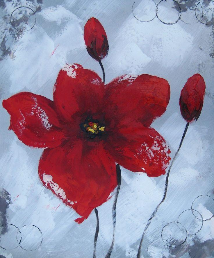 Peinture moderne de fleurs rouges. Huile sur toile. Montée sur châssis. Orientation verticale