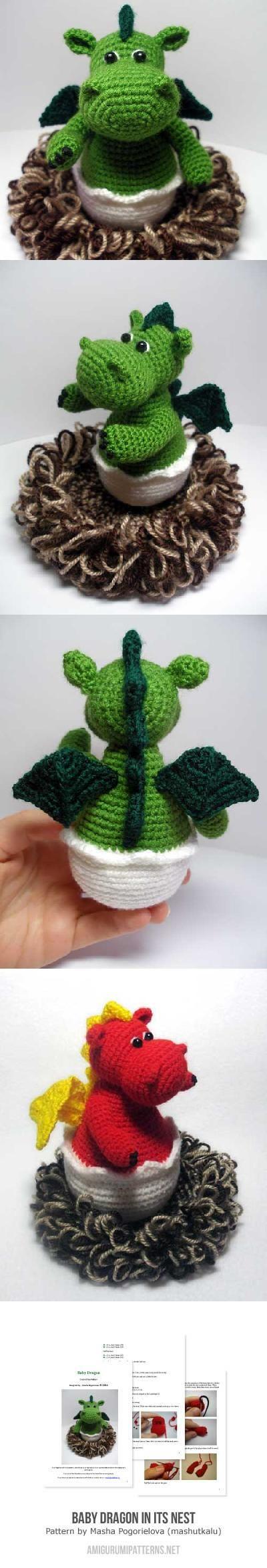Baby Dragon In Its Nest Amigurumi Pattern