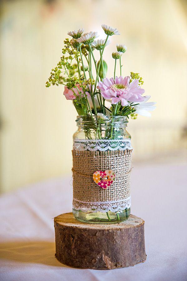 rustic country homemade wedding jam jar flowers httpmartamayphotographycouk