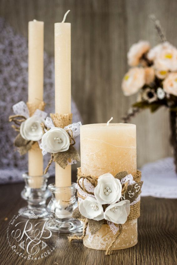 IVORY Rustic Unity candles /personalization / with rope, lace, pearl,pistachio & brown burlap, handmade flower Rustic Chic Wedding3 pcs