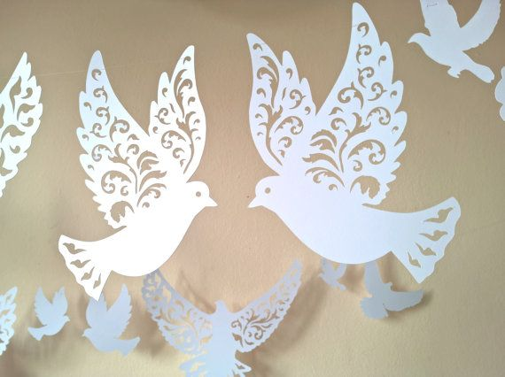 Corte las palomas Paloma de papel decoración de por RubiaCraft