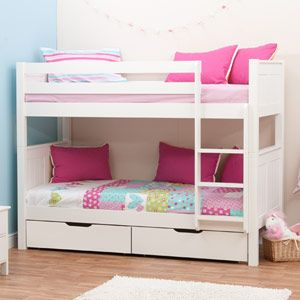 Classic White Bunk Bed for Children Boys and Girls, by Stompa with Pair of Underbed Drawers