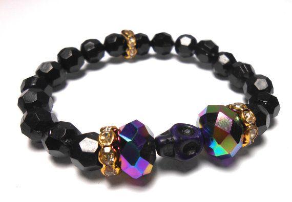 Purple Skull Stretch Plastic Bracelets  Arm Candy  by ShopJosette