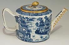 An 18th Century Chinese blue and white teapot of fluted can shape, the flus