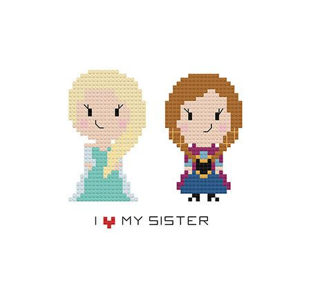 Frozen Elsa Anna Cross Stitch Pattern I Love por GoodMorningMaui