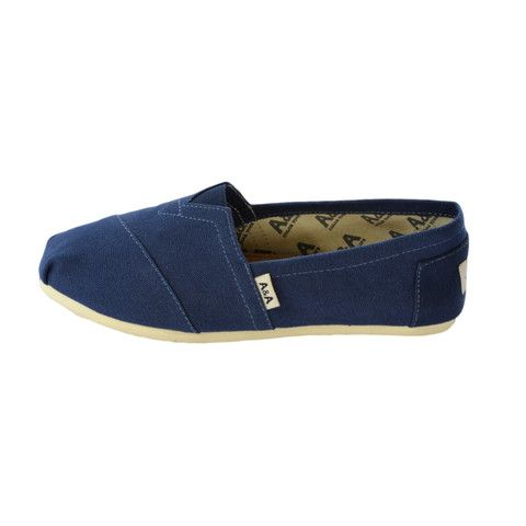 Classic Navy Blue Canvas Slip On Shoes Alpargatas (Unisex)