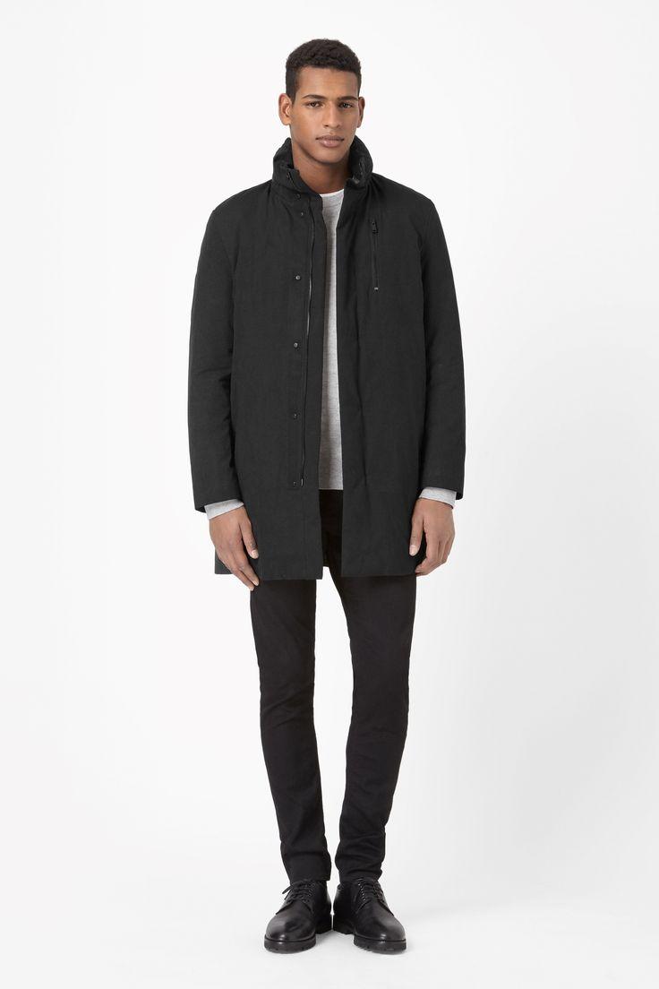 Padded funnel-neck coat