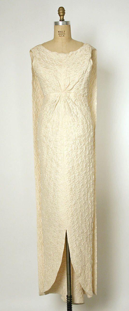 Dress, Evening.  House of Balenciaga (French, founded 1937).  Designer: Cristobal Balenciaga (Spanish, 1895–1972). Date: 1960–63. Culture: French. Medium: silk. Dimensions: Length: 65 in. (165.1 cm).