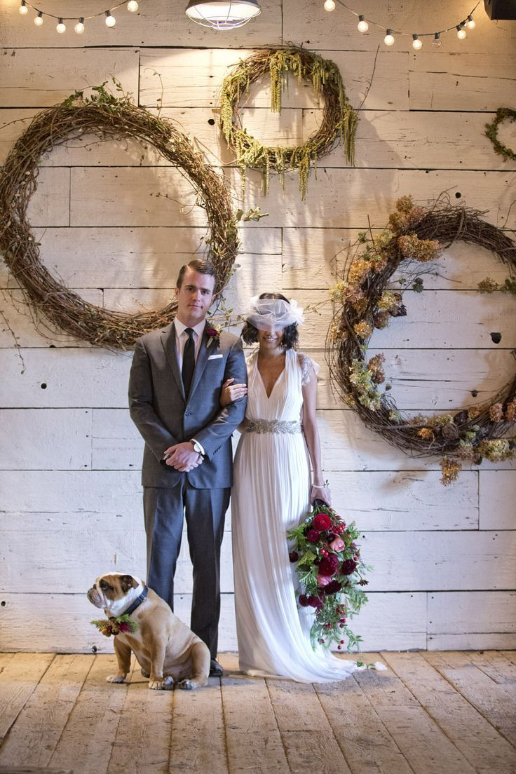 DIY Wreaths.  Recreate this look from stylemepretty.com, right down to the floral collar for your bulldog.  Find natural twig garland and preserved hydrangeas to make large wreaths and DIY tutorials for flower collars and bouquets, all at Afloral.com