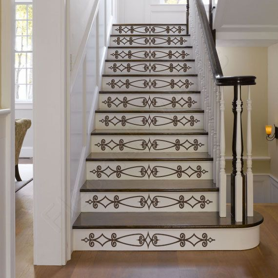 20 Attractive Painted Stairs Ideas: Vinyl Stair Decals For Staircase Riser Decor