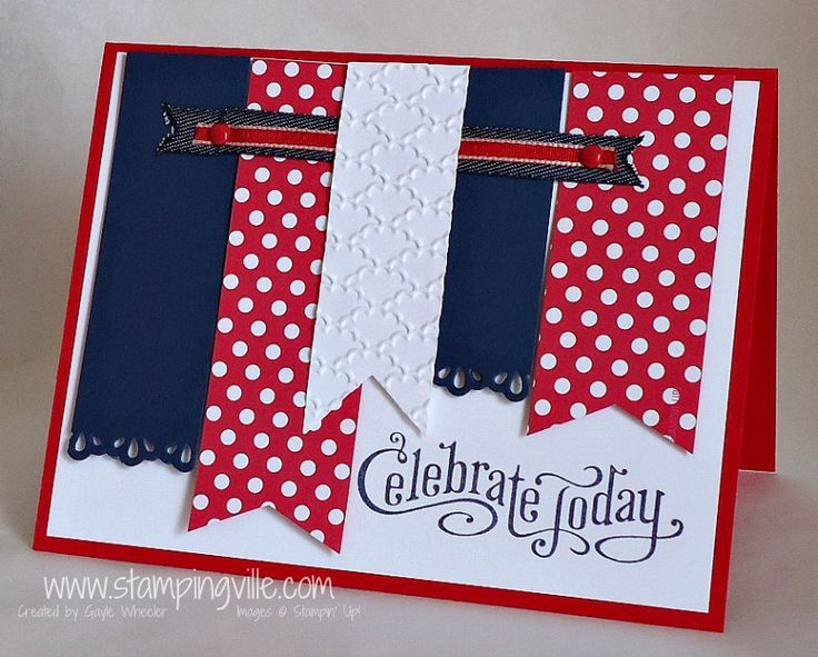 Handmade cards, Stampin' Up!, Perfectly Penned, July 4th