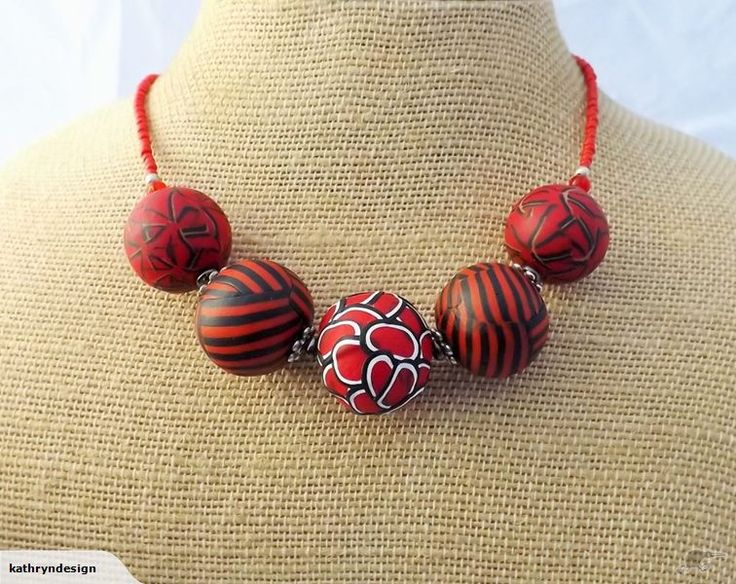 Red & Burnt Orange Kathryn Design Chunky Necklace | Trade Me