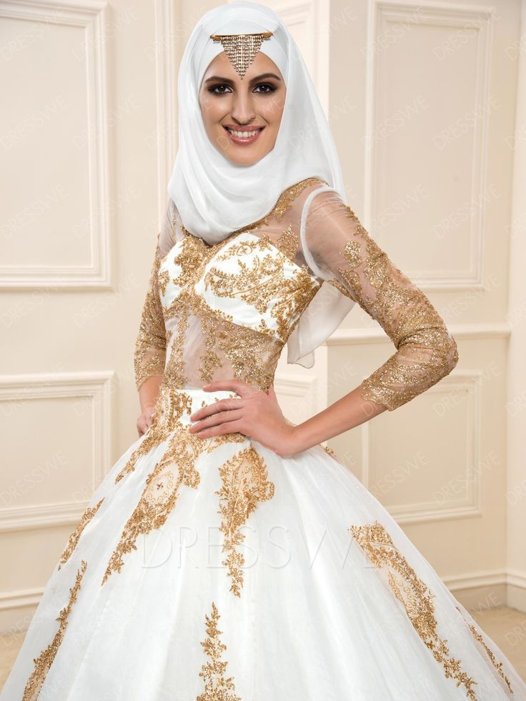 Dresswe.com SUPPLIES Shining Sequins Long Sleeves Ball Gown Court Train Muslim Wedding Dress Muslim Wedding Dresses (4)