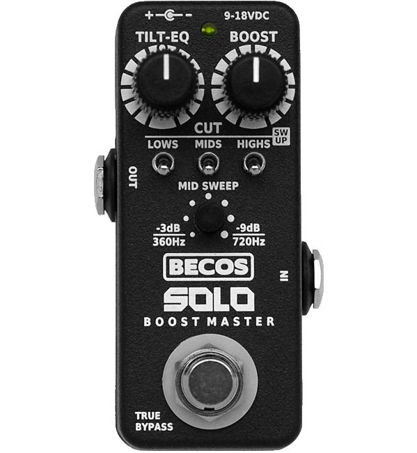 BECOS SOLO Boost Master Preamp is a uniqu following ase designed clean FET buffer/booster pedal with added control over your solo tone shaping. Encased in a rugged but tiny aluminium box, this high quality built circuit has audio mastering virtues.