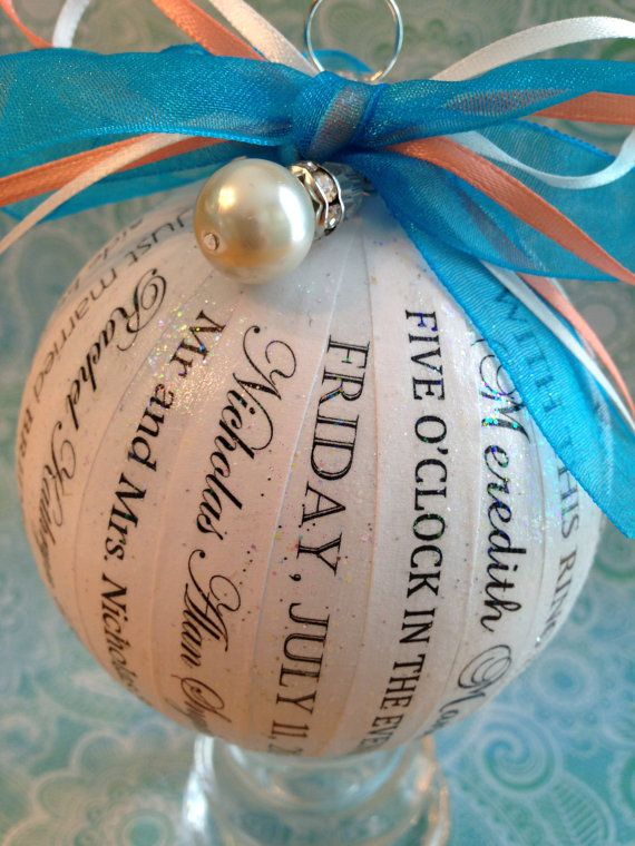Unique and Personalized Wedding Ornament by HappyThoughtsbyKelly, $40.00