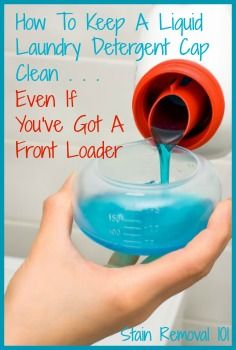 Several tips and ideas for how to keep your liquid laundry detergent cap clean and not all gunked up.