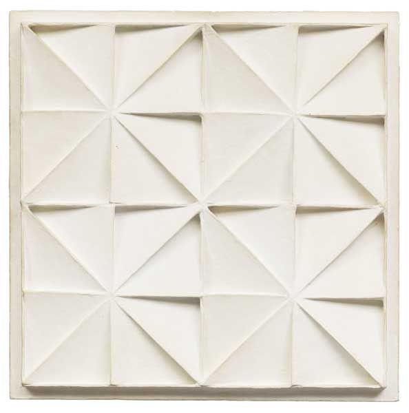 Jan Schoonhoven - Sterren (1968) - papier-maché op paneel, 43x43 cm - Collectie Manders