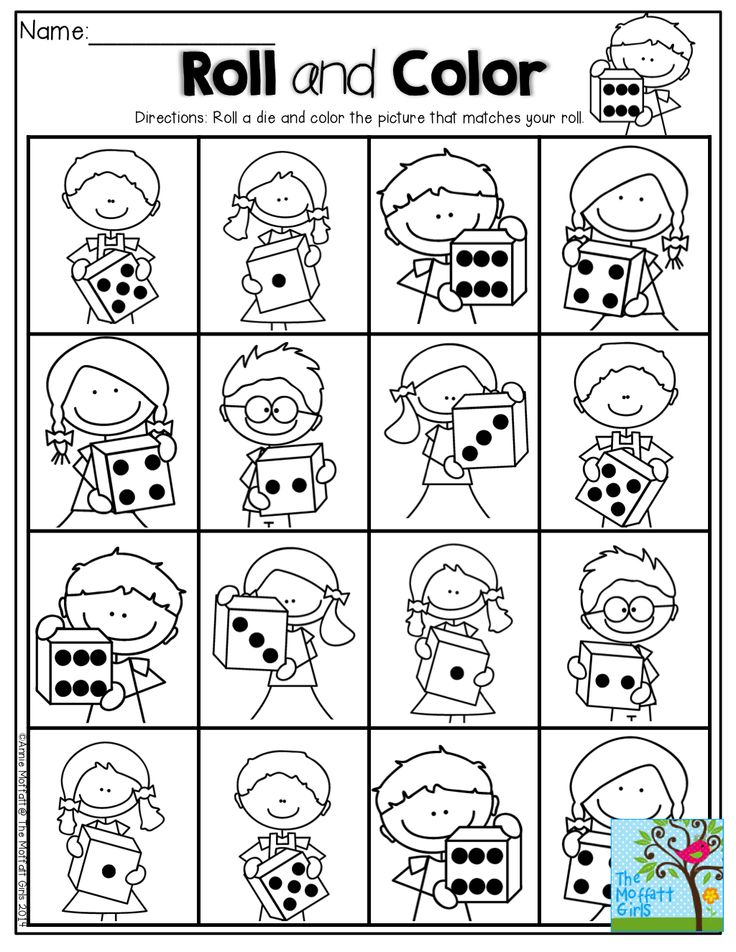 Roll a die and color a stick kid that matches your roll! Fun way to practice counting 1-6, one to one correspondence!