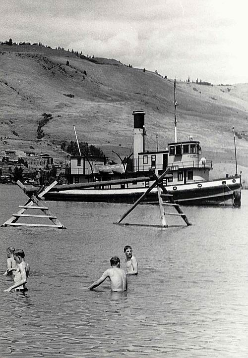 The SS Naramata at Vernon (before moved to its home with the SS Sicamous Society, in Penticton BC) Swim parade at Okanagan Landing. The steam tug Naramata in the background. For many years, this tug was landmark on the lake. The S.S. Naramata was in service on Lake Okanagan from 1914 until 1967. The tug pushed railway barges loaded with up to 10 cars each. (Cam LeBlond) http://www.armycadethistory.com/Vernon photo gallery/vernon_photo_gallery1976_Pg1.htm