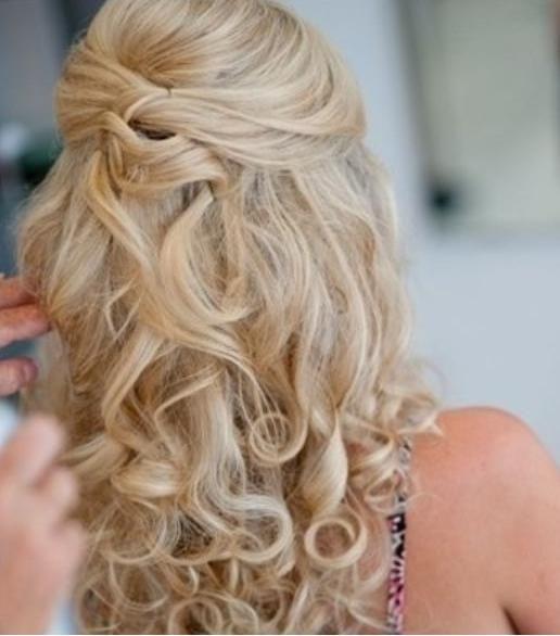 half up curly blonde bridesmaid hair