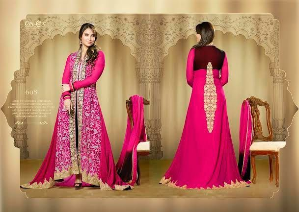 OFM-OMLARA-608 Ethnic Rani Pink Long Dress with Georgette Kameez with santoon Bottom & inner. Heavy Thread, Jari and Stone Work makes it more beautiful. Chiffon dupatta included.
