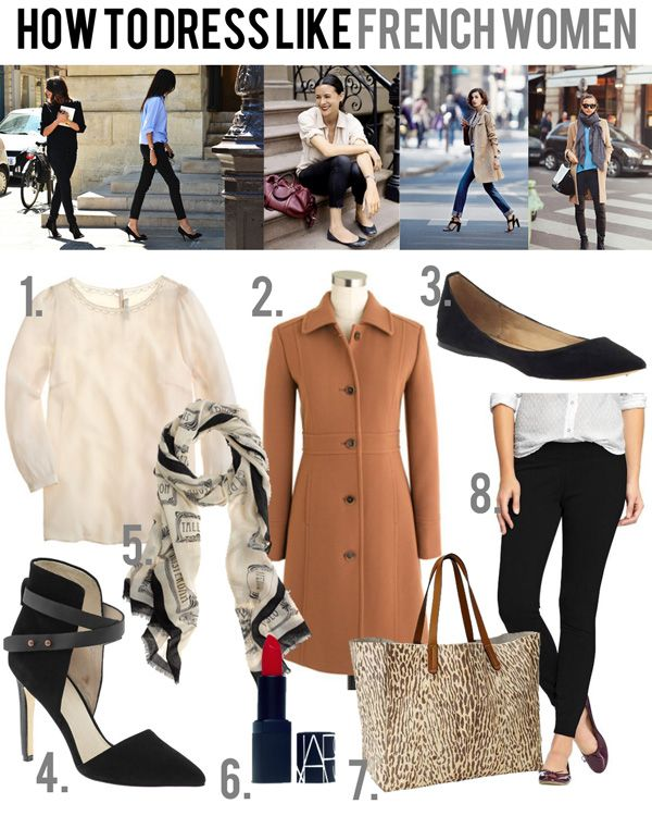 Dress like a French woman - beautiful blouse, structured coat, simple black flat or amazing heels, pretty scarf (ALWAYS a scarf), bold red lips, leopard bag, black skinny pants