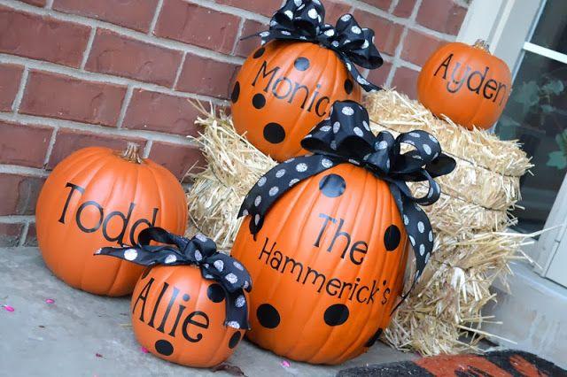 Monogrammed pumpkins for Halloween decor