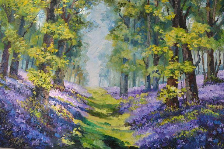 Blue bell flowers Johan Marais - oil on canvas 102x76