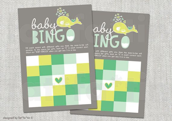 INSTANT DOWNLOAD Pregnant Mommy Green Whale Printable Twins Baby Shower Bingo Game | Custom Party Games Whimsical Modern Beach Summer PDF by fatfatin