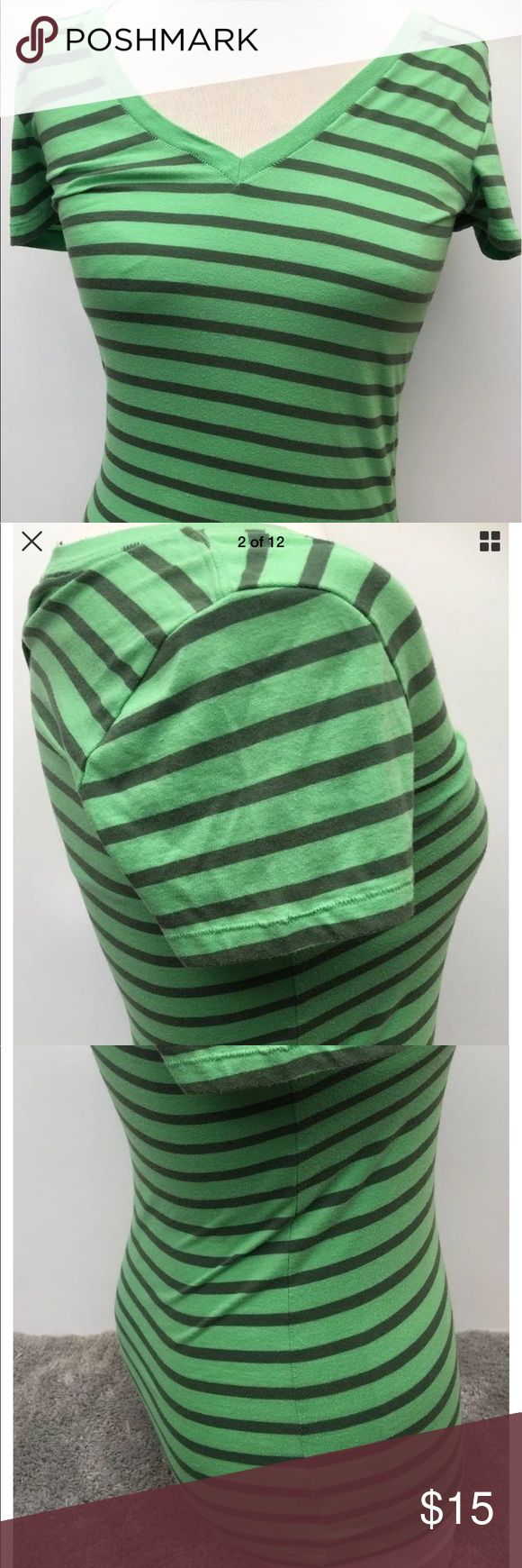 VS PINK T-Shirt Size Small Womens Green Stripes Victoria Secret Vs Pink Blouse Tops Womens Size Small Size Fashion CausalTee Comfy Online Shopping Graphic Pre Owned Cute  Measurements: Green Shirt XS 27 inches (From top of shoulder to bottom of Shirt) 15 1/2 inches (From arm pit to arm pit) PINK Victoria's Secret Tops Tees - Short Sleeve